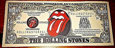 Rolling Stones Bank Note Bill Music 60s Retro Band Lips Tongue Mick Jagger Songs