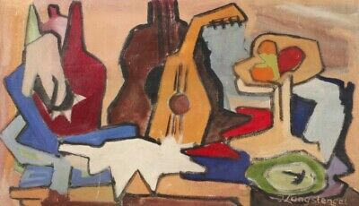 Superb Mid 20Th Century German Cubist Signed Oil Painting - Guitar & Shapes