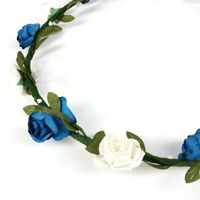 DARK BLUE & WHITE FLOWER CROWN Ivory Rose Leaf Floral Hair Band Bride Bridesmaid
