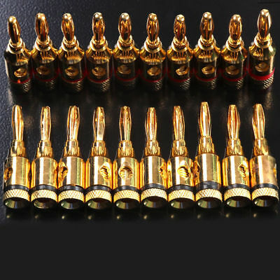 10pcs Gold Plated Speaker Banana Plug Adapter Audio Jack Connector Screw Cable