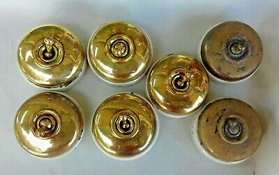 7 Original Brass & Porcelain Dolly Light Switches