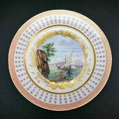 18th Century French Sevres Soft Paste Porcelain Pink Painted Harbor Scenic Plate