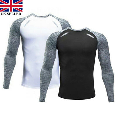 Mens Boys Compression T-Shirt Baselayers Stretch Slim Tops Fitness clothing UK