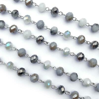 Gray White Opal Crystal Glass Beaded Rosary Antique Silver Eyepin Chain 8mm 2ft
