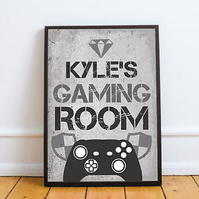 PERSONALISED Gaming Room Boys Bedroom Prints Gamer Gifts Gaming Wall Art Posters