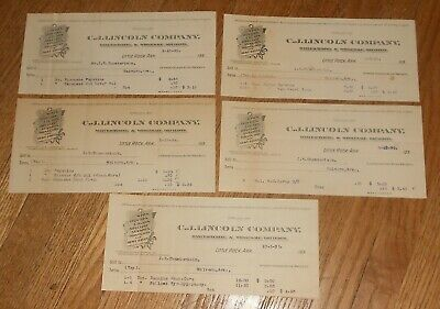 5 Antique Quack Medicine Billheads 1895 Little Rock AR Druggist C J Lincoln
