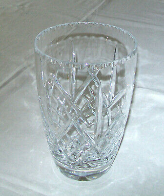 LEAD CUT CRYSTAL CELERY VASE - 9.5cm Diameter 15.5cm Tall PRE-OWNED Very Good