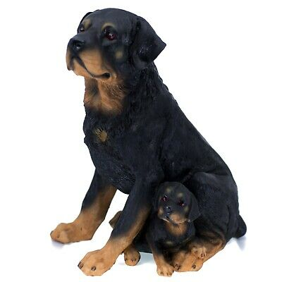 """Rottie Rottweiler Dog Mother and Puppy Figurine 11.25"""" High Resin Statue New"""