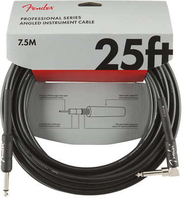 Fender Professional Guitar/Instrument Cable, Straight-Right Angle, 25' ft