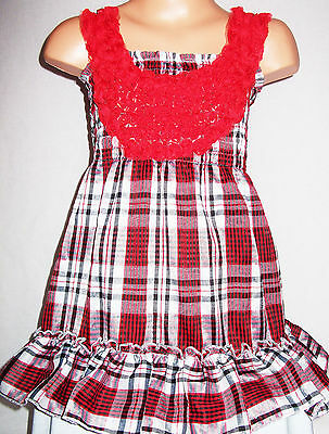Girls Red White Check Tartan Print Rosette Trim Frilly Boho Party Dress Top