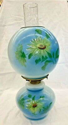 Antique Victorian Gone With The Wind Style Parlour Kerosene Lantern Early 1900s