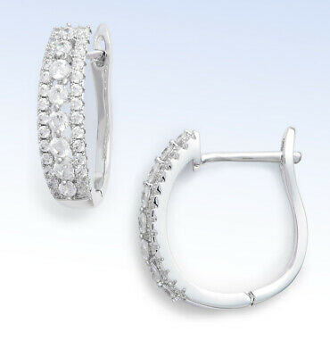 146b8be16 NORDSTROM EARRINGS SILVER tone Cubic Zirconia Hoops S hinged women's ...