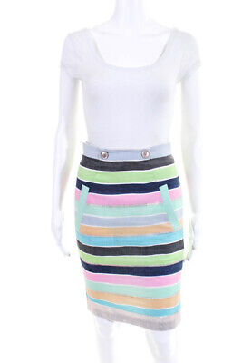 3dc474f92 Tracy Reese Womens Knee Length Straight Pencil Skirt Green Blue Pink Size 2