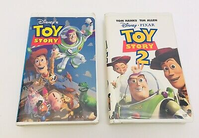 Toy Story AND Toy Story 2 BUNDLE 1995 1999 VHS In Case Pixar Disney Vintage