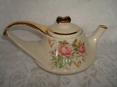 Brown China Sebring Ohio Gold & Floral Mid Century Modern Teapot