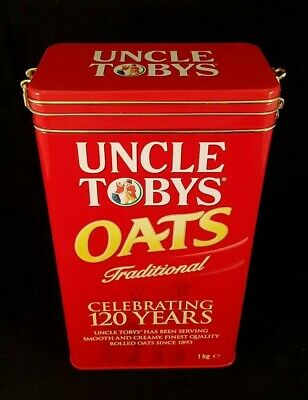 Uncle Tobys Traditional Oats Tin Cannister Celebrating 120 Years - Collectable.