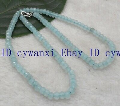 4x6mm Blue Aquamarine Faceted Roundel Gems Beads Necklace 18''AAA Silver Clasp