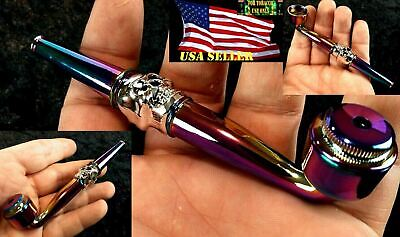 4 Inch Metallic Skull Metal Tobacco Smoking Pipe & Pipe Screens USA Seller