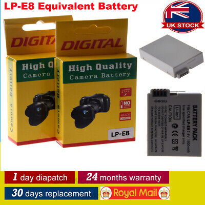 2 Pack LP-E8 LPE8 Equivalent Battery for Canon EOS Rebel 550D, Rebel T2i UKU1