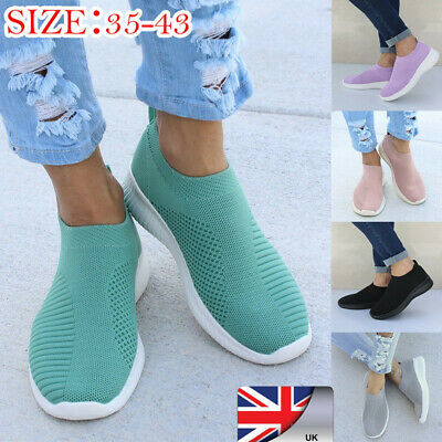 Womens Casual Mesh Sock Shoes Trainers Comfy Flat Slip On Pumps Sneakers Size WA