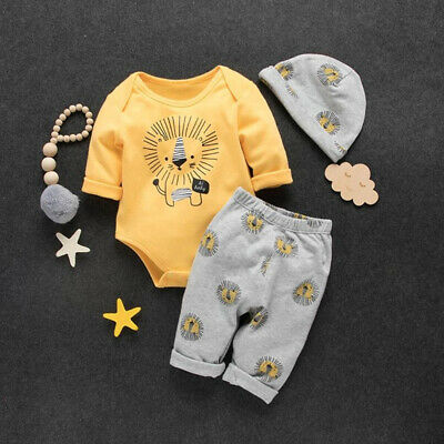 793019290 US Toddler Baby Boy Clothes Lion Print Long Sleeve Tops Romper Pants Hat  Outfit