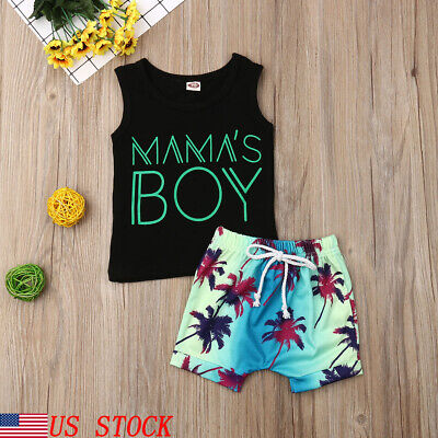 Fashion Toddler Baby Boy Tops Vest Beach Short Pants 2Pcs Outfits Set Clothes US