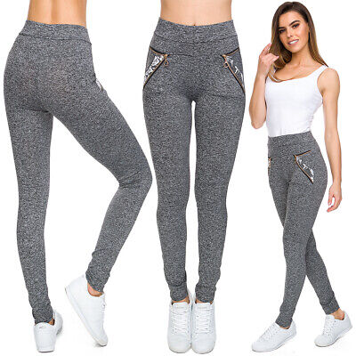 Womens Ultra Soft Leggings Pockets & Zippers High Waisted Stretchy Pants FS9709