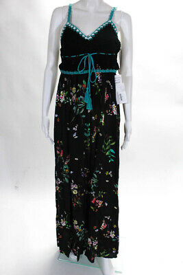 Willow & Clay Womens Dress Size Small New $56 Black Floral Pattern Long JG15
