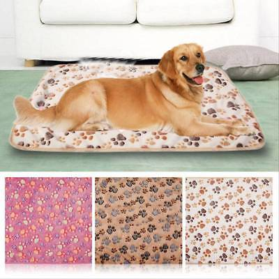 Soft Warm Cat Dog Puppy Pet Fleece Blanket Bed Mat Cover Pad Paw Print Cushion