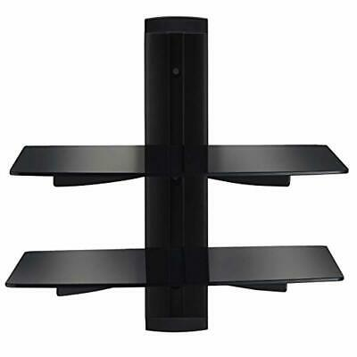 Vemount Floating Shelves DVD Wall Mount Bracket 2 Tier Black Stand with Strength