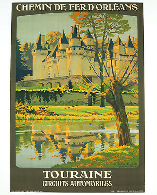 TOURAINE – CIRCUITS AUTOMOBILES, Original Travel Poster, Constant Duval, ca.1920
