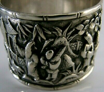 RARE CHINESE EXPORT SILVER VILLAGE SCENE NAPKIN RING c1880 ANTIQUE