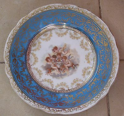 A Lovely Antique Old Vienna Style Plate Richly Decorated With 5 Angels