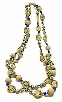 """Antique Vintage Egyptian Revival Scarab Neiger Glass Tan Blue Beads 32"""" Necklace"""