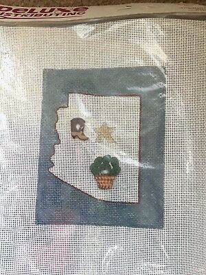 New Small Handpainted Needlepoint Canvas State Arizona Map Buttons Cowboy Boot