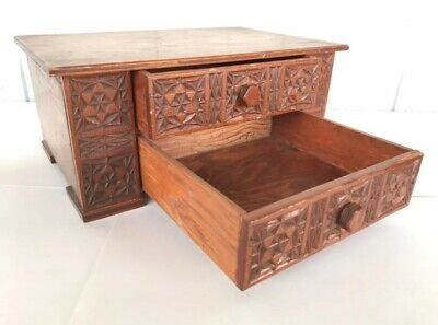 Vintage Antique Wooden Box Hand Carved Design Trinket Jewelry Storage Box Art