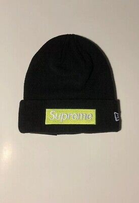 943ea4ed Supreme New Era Beanie Box Logo Black And Lime Green FW17 New With Tags