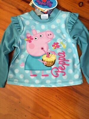 Peppa Pig Girls Rashie Rash Shirt New with Tags sizes 1 & 2 available