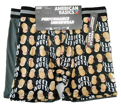 84ce895594c7 American Basics Men Underwear - Pack 2 Performance Boxer Briefs - Peanuts  Grey