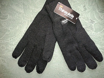 3 pairs Mens Black Winter Gloves 3m Thermal  Lining Insulation