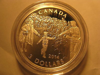 Canada 2014 Wwii Memorial Wait For Me Daddy $3 Rare Silver Coin.