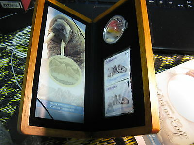 Canada 2005 Fine Silver $5 Coin And Stamp Set Walrus & Calf RCM Mint Set.