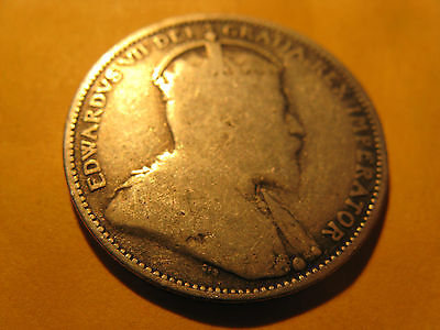 1904 Canada 25 Cent Twenty Five Cent Silver Coin.
