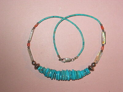 Turquoise & MOP Hand Made Necklace ~ Sterling Closure ~ Vintage