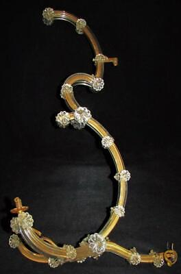 Antique Chandelier Part Lot 5 Large Wired Arms 350 Rosette Prisms Czechoslovakia