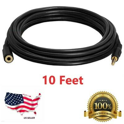 25ft 3.5mm Stereo Audio Extension Cable Male to Female M//F MP3 1//8 10 Pack Lot