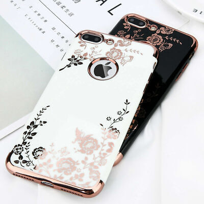 For iPhone X 6 6s 7 Plus Luxury Flower Pattern Hybrid Silicone Phone Case Cover
