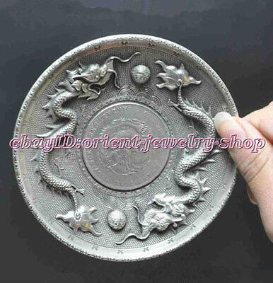 Collectible Decorate Old Tibet Silver China Zodiac double dragon ball Coin Plate