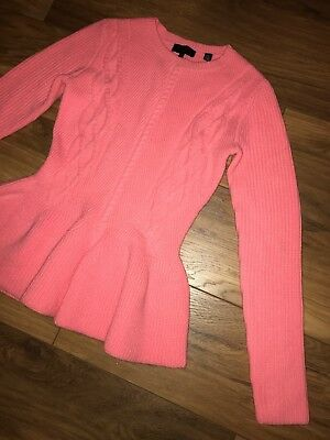 1ba0284b0411e4 USED TED BAKER Cream Peplum Cable Knit Jumper Size 3 (UK12) - $1.26 ...