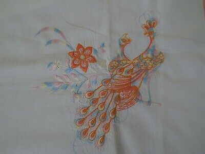 Pair Of Vintage Embroidered White Cotton Pillowcases With Peacocks Birds